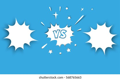Versus letter background. Concept paper cut design confrontation or contest background. Cartoon, comic style. Vector illustration.