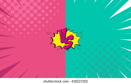 Versus letters fight backgrounds comics style design. Vector illustration