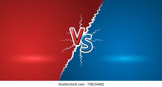 Versus letters. Red letters V and S symbols. VS abstract background. Vector illustration