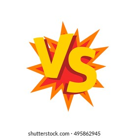 Versus letters or vs logo vector sign isolated on white background, flat cartoon creative logotype