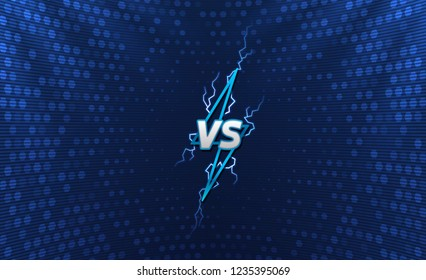 Versus logo with holographic background. Lightning logo with flashes. Cyber sport tournament screen design. Eps10 vector