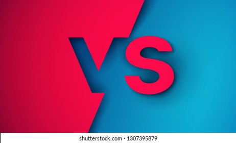 Versus logo vs letters in  paper cut style. Design composition for various competition, battle or match. Vector illustration.