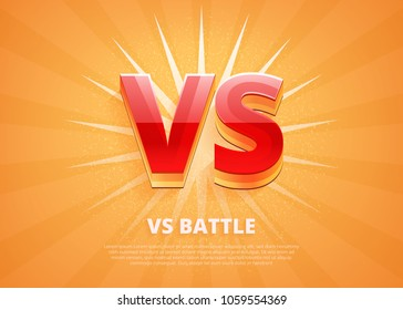 Versus logo vs letters for sports and fight competition. Battle vs match, game concept competitive vs. Vector illustration