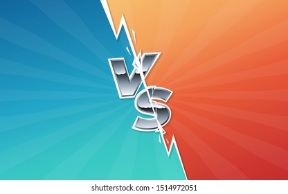 Versus monogram with lightning bolt and chrome letters. Championship screen. Vs battle headline, conflict between teams. Divided screen. Eps10 vector
