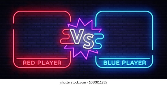 Versus neon banner with square frames. Screen battle, the confrontation of two fighters, the battle. Neon sign Vector illustration