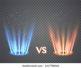 Versus round blue and red glow rays. Illustration isolated on transparent background. Graphic concept for your design