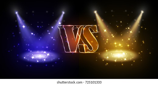 Versus round blue and yellow glow rays night scene with sparks on dark background. Light effect podium. Disco club dance floor. Beam stage. Magic fantasy portal. Futuristic hot and cold teleport.