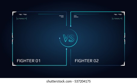 Versus screen design. Announcement of a two fighters. Blue futuristic neon VS letters. Thin line borders. Vector illustration on the dark background. Future style