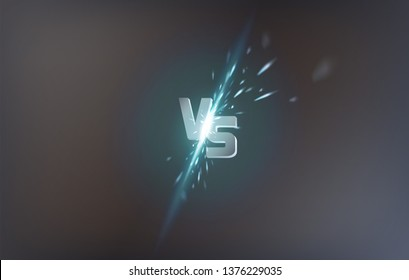 Versus screen design. Battle headline template vector illustration background. Neon versus logo vs letters for sports and fight competition. Battle vs match, game concept competitive vs promo banner