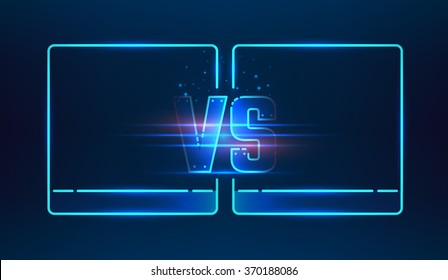 Versus screen design. Blue neon VS letters. Vector illustration