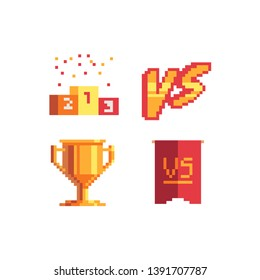 Versus screen, design for logo, web, mobile app. Game tournament achievement emblem. Pixel art icons set. Winner's trophy award. Game assets. Isolated abstract vector illustration.