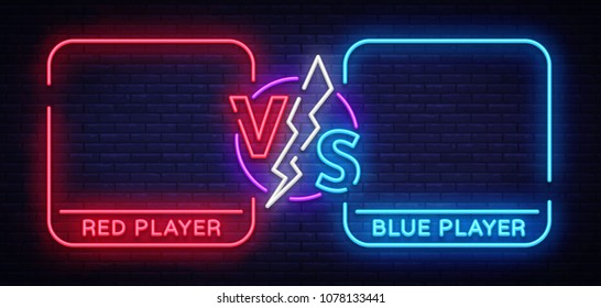 Versus screen design in neon style. Neon banner Announcement of two fighters. Blue futuristic neon VS leaves. Competition vs match game, martial battle vs sport. Vector illustration