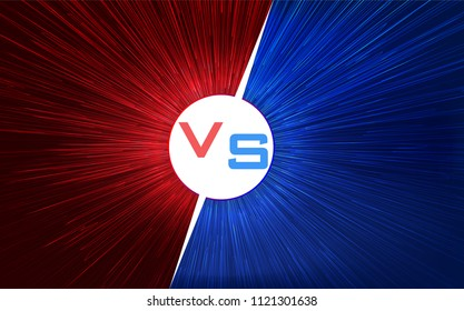 Versus screen design. Red and blue VS letters. Light warp speed. Vector illustration