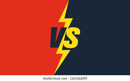 Versus screen design. Red and blue VS letters. Vector illustration