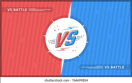 Versus screen design. Red and blue VS letters. Vector illustration
