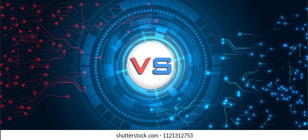 Versus screen. Fight backgrounds against each other, red vs blue. Abstract digital and technological background.