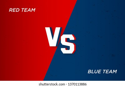 Versus screen Fight backgrounds against each other, red vs blue vector illustration