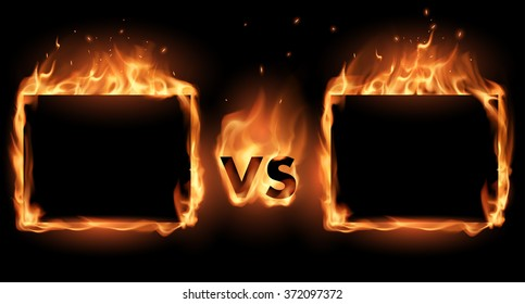 Versus screen with fire frames