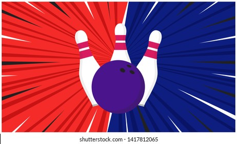 Versus screen flat style design with bowling ball and skittles on the halftone background vector illustration. Fight screen for game battle. Bowling versus game concept.