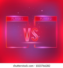 Versus screen with red neon frames and versus letters. Competition vs match game, martial battle versus sport. Stock vector illustration Versus screen with red neon frames and vs letters.