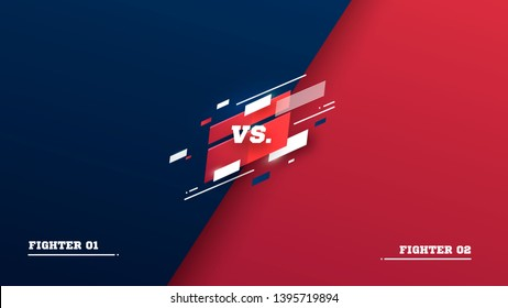 Versus screen. Vs battle headline, conflict duel between Red and Blue teams. Confrontation fight competition. Boxing martial arts mma football basketball soccer fighter match vector background
