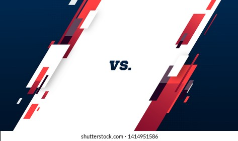 Versus screen. Vs battle headline, conflict duel between Red and Blue teams. Confrontation fight competition. Boxing martial arts mma fighter match vector background