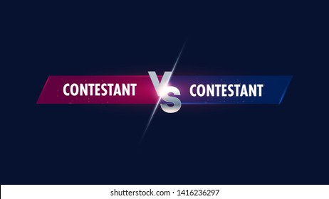 Versus screen. Vs battle headline, conflict duel between Red and Blue teams. Confrontation fight competition.