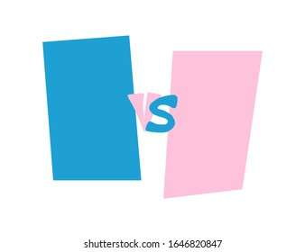 Versus  screen. VS sign with copy space. Stylized versus word with copy space. Template for flyer for competition. Vector illustration.