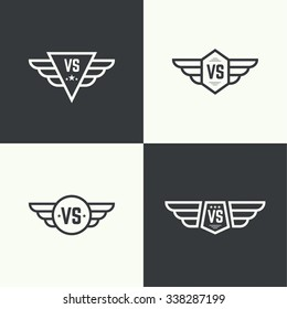 Versus sign. Badge with wings.