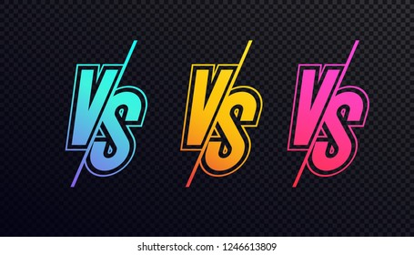 Versus sign set neon style isolated on transparent background for battle, sport, competition, contest, match game, announcement of two fighters. VS icon trendy gradient. Vector 10 eps