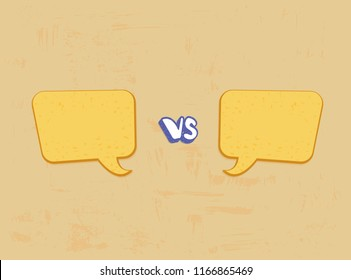 Versus template. VS screen with empty space speech bubbles. Battle background. Vector illustration.