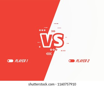 Versus vector template background. Battle or competition concept template. Red and white players. Video games or fighting competitors. VS letters and abstract lines and arrows on two color background.