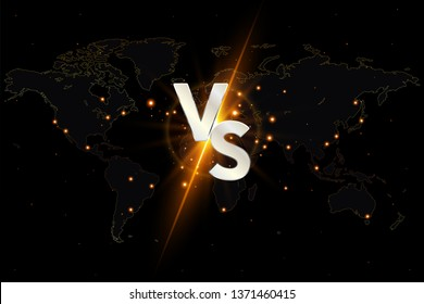 Versus VS background. Versus logo vs letters for sports and fight competition on the world map. Vector illustration.