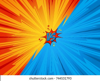 Versus vs letters , bomb explosive in comic pop art style Vector Illustration