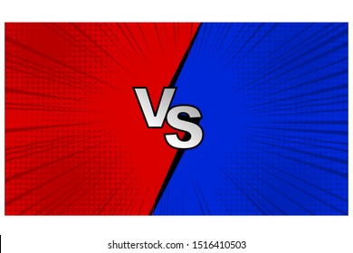 Versus VS letters fight backgrounds in flat comics style design with halftone. Vector illustration