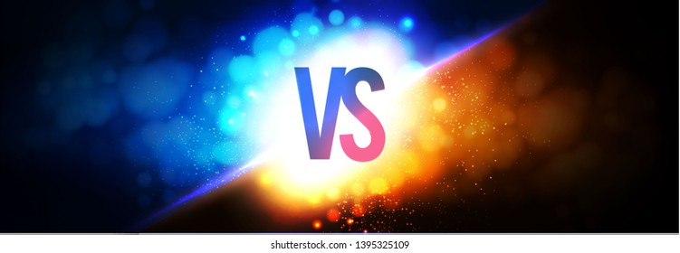 Versus. VS sign on Power Light Blue and Gold Background. Sport and Explosion. Bokeh Effect.