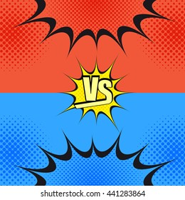 Versus wording comic fight template. Cartoon background with opposite sides. Representation of two confrontated warriors before battle. Pop-art style