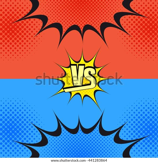 Versus Wording Comic Fight Template Cartoon Stock Vector Royalty Free 441283864