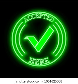 """Vertcoin (VTC) green  neon cryptocurrency symbol in round frame with text """"Accepted here"""". Vector illustration isolated on black background"""