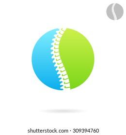 Vertebral column logo template, round plate, spine treatment icon concept, 2d vector on white background, eps 8