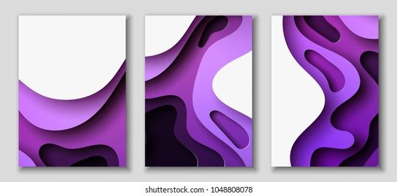 Vertical A4 banners with 3D abstract background with purple paper cut waves. Contrast colors. Vector design layout for presentations, flyers, posters