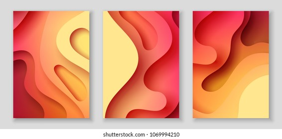 Vertical A4 banners with 3D abstract background with red, orange and yellow paper cut waves and background. Vector design layout for presentations, flyers, posters