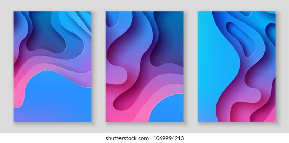 Vertical A4 banners with 3D abstract background with blue and pink paper cut waves and background. Vector design layout for presentations, flyers, posters
