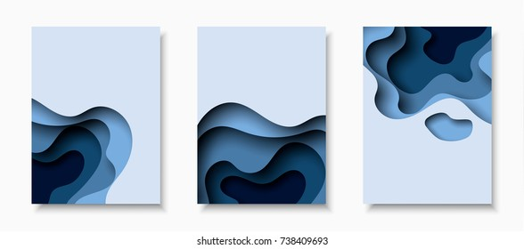 Vertical A4 banners with 3D abstract background with blue paper cut waves. Vector design layout for business presentations, flyers, posters and invitations.