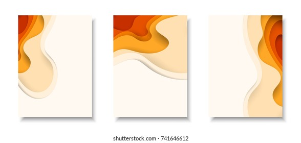 Vertical A4 banners with 3D abstract background with orange paper cut waves. Vector design layout for business presentations, flyers, posters and invitations.