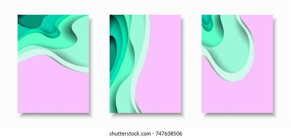 Vertical A4 banners with 3D abstract background with turquoise paper cut waves. Contrast colors. Vector design layout for presentations, flyers, posters and invitations.