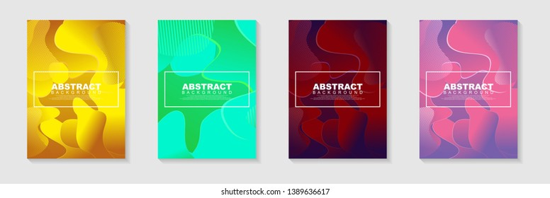 vertical A4 banners with Abstract Background. Fluid shapes with gradient elements Vector Illustrationfor cover, banner, business card, presentation, print, brochure, poster, flyer, web, landing page