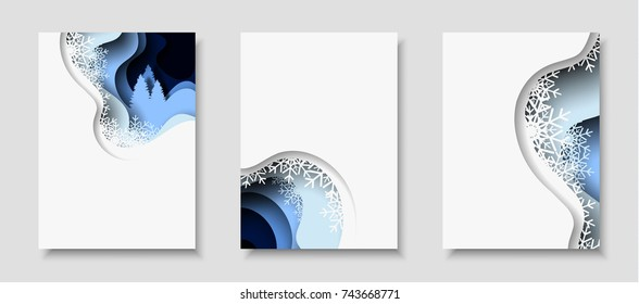 Vertical A4 card set with New Year 2018 3d abstract paper cut illustration of tree, snow hoarfrost in the night. Vector design layout for greeting cards, flyers, posters and invitations.