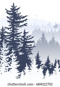 Vertical abstract illustration of foggy coniferous trees and hills.
