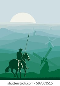 Vertical abstract illustration of horseman (Don Quixote) with spear galloping in front of meadows windmills.